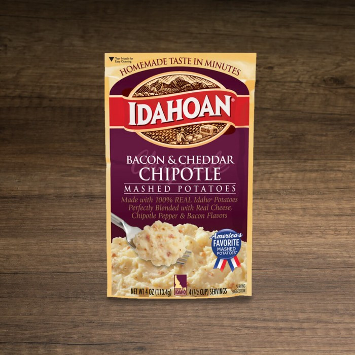 Idahoan Instant Mashed Potatoes  Idahoan Bacon & Cheddar Chipotle Mashed Potatoes