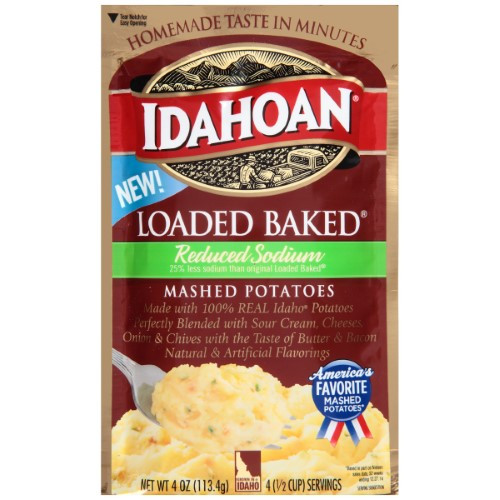 Idahoan Instant Mashed Potatoes  Idahoan Reduced Sodium Loaded Baked Mashed Potato Pouch 4