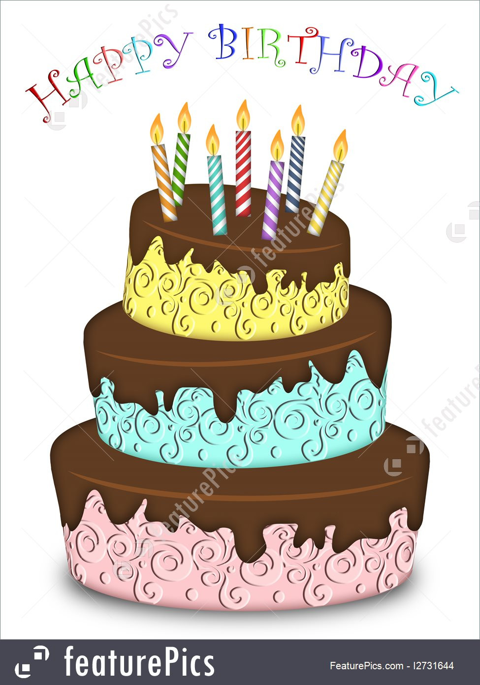 Image Birthday Cake  Celebration Happy Birthday Three Layer Funny Cake With