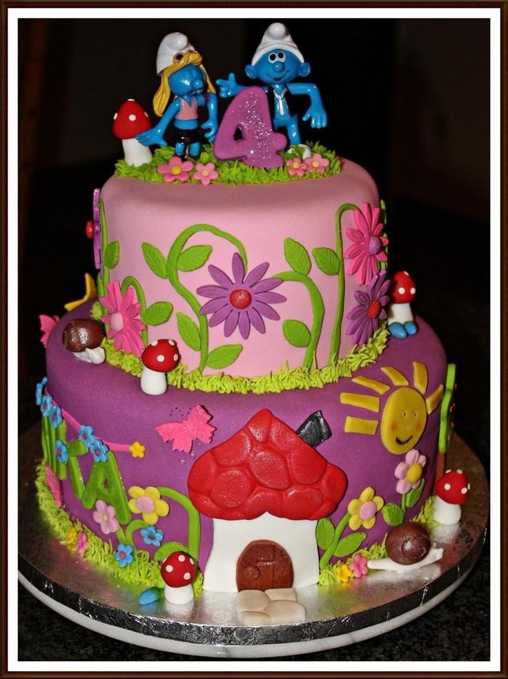 Image Birthday Cake  Smurfs Cake Ivy birthday cake Pinterest