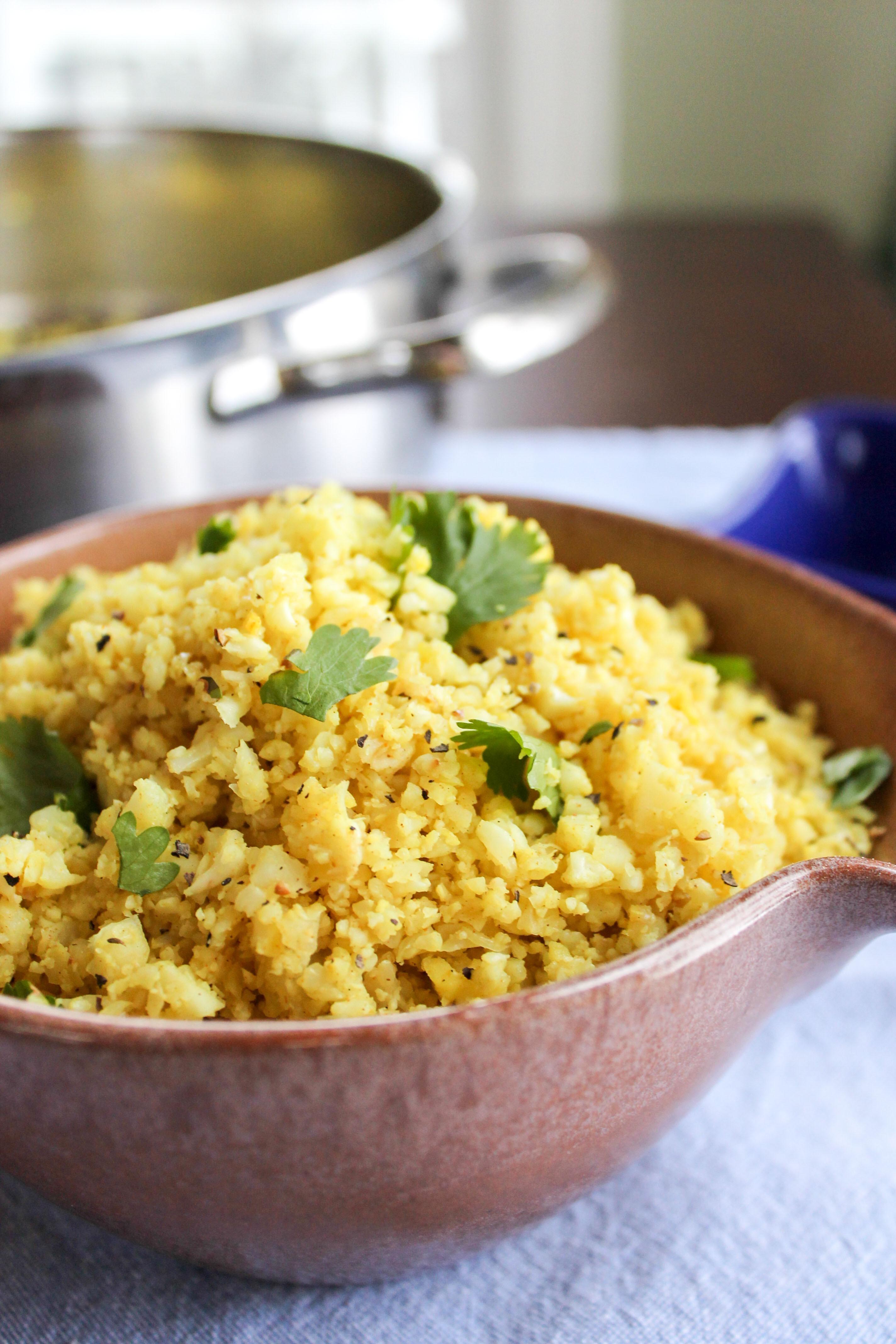 "Indian Cauliflower Recipe  Indian Spiced Cauliflower ""Rice"""