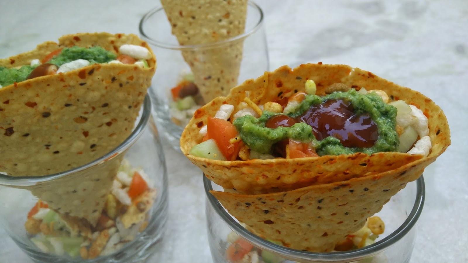 Indian Healthy Recipes  Masala Papad Cones Recipe Indian Snacks Healthy Kadai