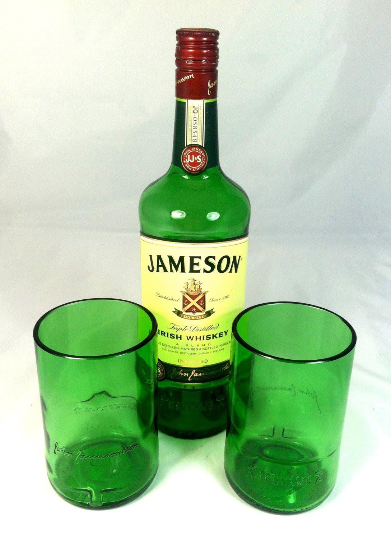 Jameson Whiskey Drinks  Jameson Whiskey Bottle Rocks tumbler Green recycled cocktail