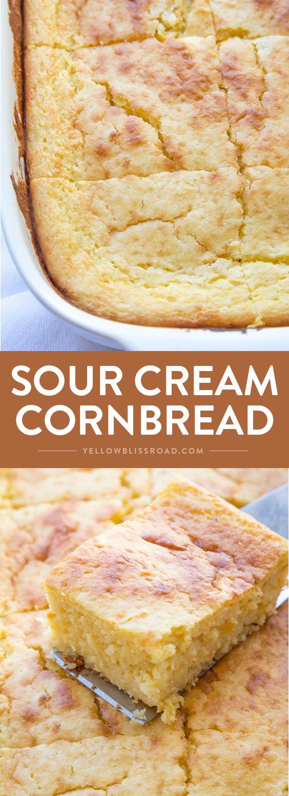Jiffy Cornbread With Creamed Corn  jiffy cornbread with creamed corn in cast iron skillet