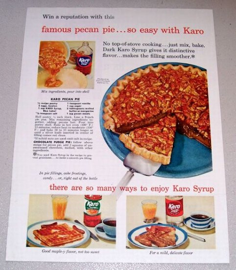 Karo Syrup Pecan Pie  1954 Color Print Ad Karo Syrup Pecan Pie Recipe