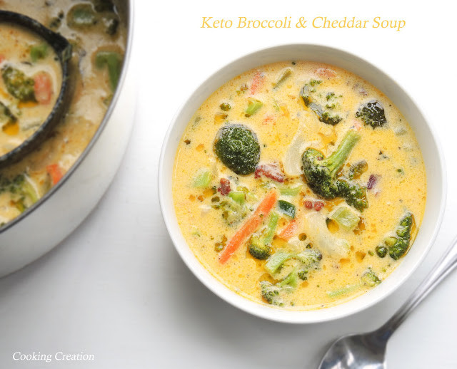 Keto Broccoli Cheddar Soup  Cooking Creation Keto Cheddar & Broccoli Soup
