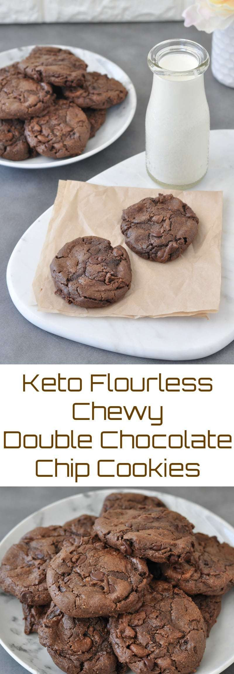Keto Cookies Recipe  Keto Flourless Chewy Double Chocolate Chip Cookies