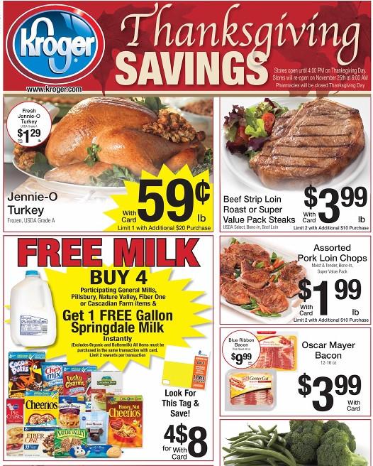 Kroger Thanksgiving Dinner  Kroger Weekly Matchups 11 16 Blue Bell only $3 99