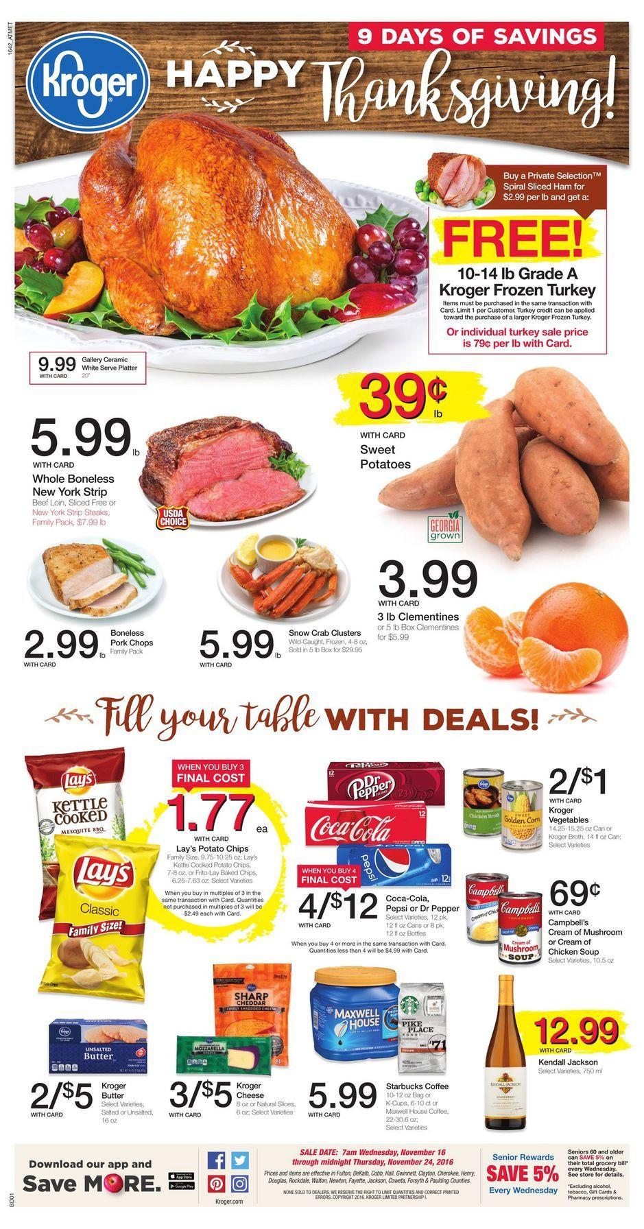Kroger Thanksgiving Dinner  Kroger Weekly Ad Thanksgiving Turkey Sales
