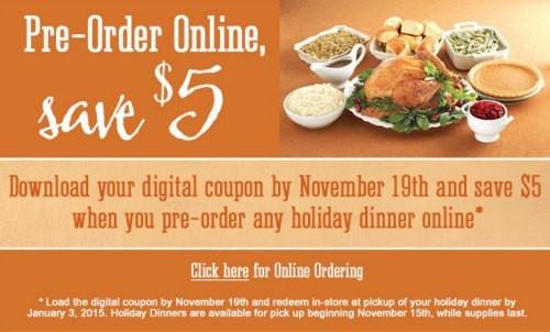 Kroger Thanksgiving Dinner  $5 f Kroger Holiday Dinner When You Pre Order