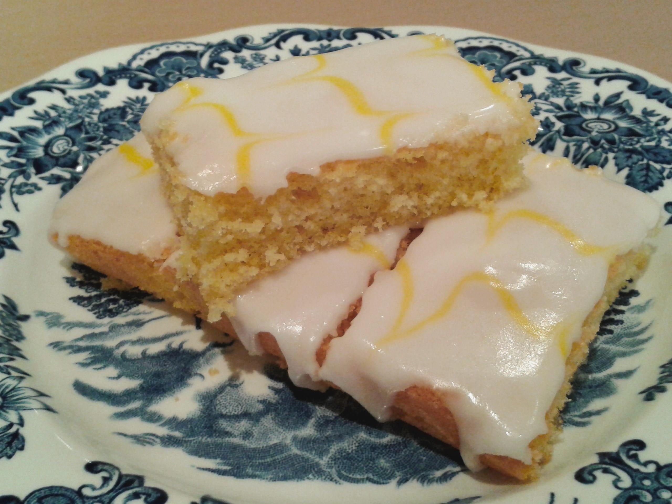 Lemon Sponge Cake  Recipe Simple lemon cake with feathered icing