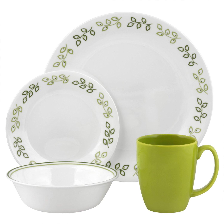 Light Weight Dinner Ware  best dinnerware sets Corelle Contours Neo Leaf 16 Piece