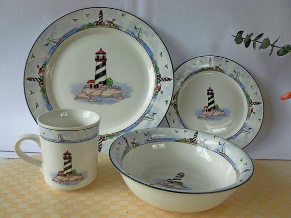 Light Weight Dinner Ware  Vintage Light House dinnerware Set 32 piece Stoneware from