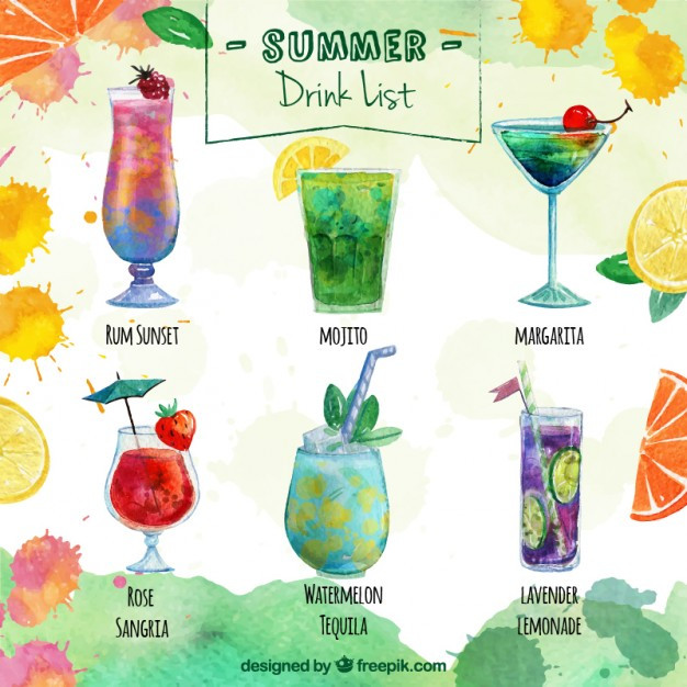 List Of Cocktails  Delicious summer drink list Vector