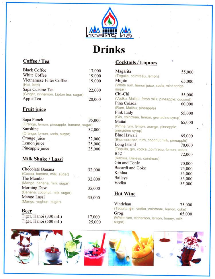 List Of Cocktails  Drink Menu at Hoang Ha Sapa