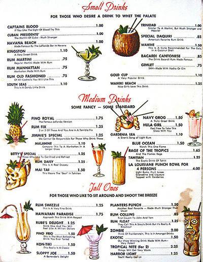 List Of Cocktails  Tiki Drinks S