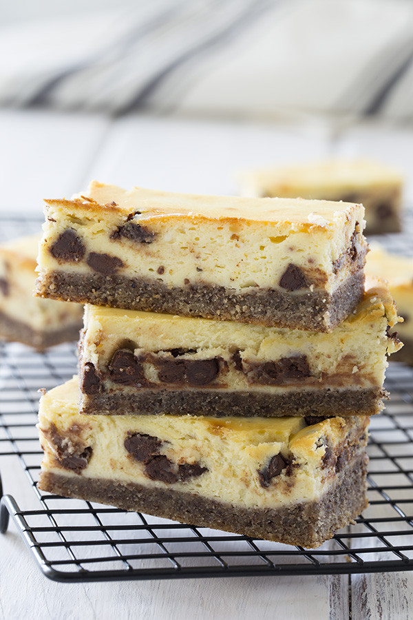 Low Carb Cream Cheese Dessert Recipes  Low Carb Chocolate Chip Cheesecake Bars [VIDEO]