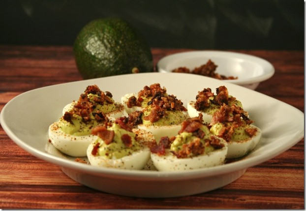 Low Carb Deviled Eggs  Low Carb Kickin Bacon Avocado Deviled Eggs AppetizerWeek