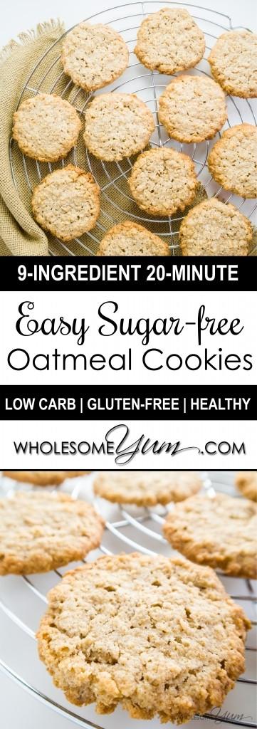 Low Sugar Oatmeal Cookies  Sugar free Oatmeal Cookies Low Carb Gluten free