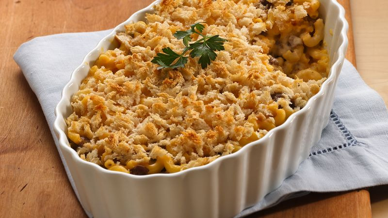 Mac And Cheese With Ground Beef  Layered Mac and Cheese with Ground Beef recipe from Betty
