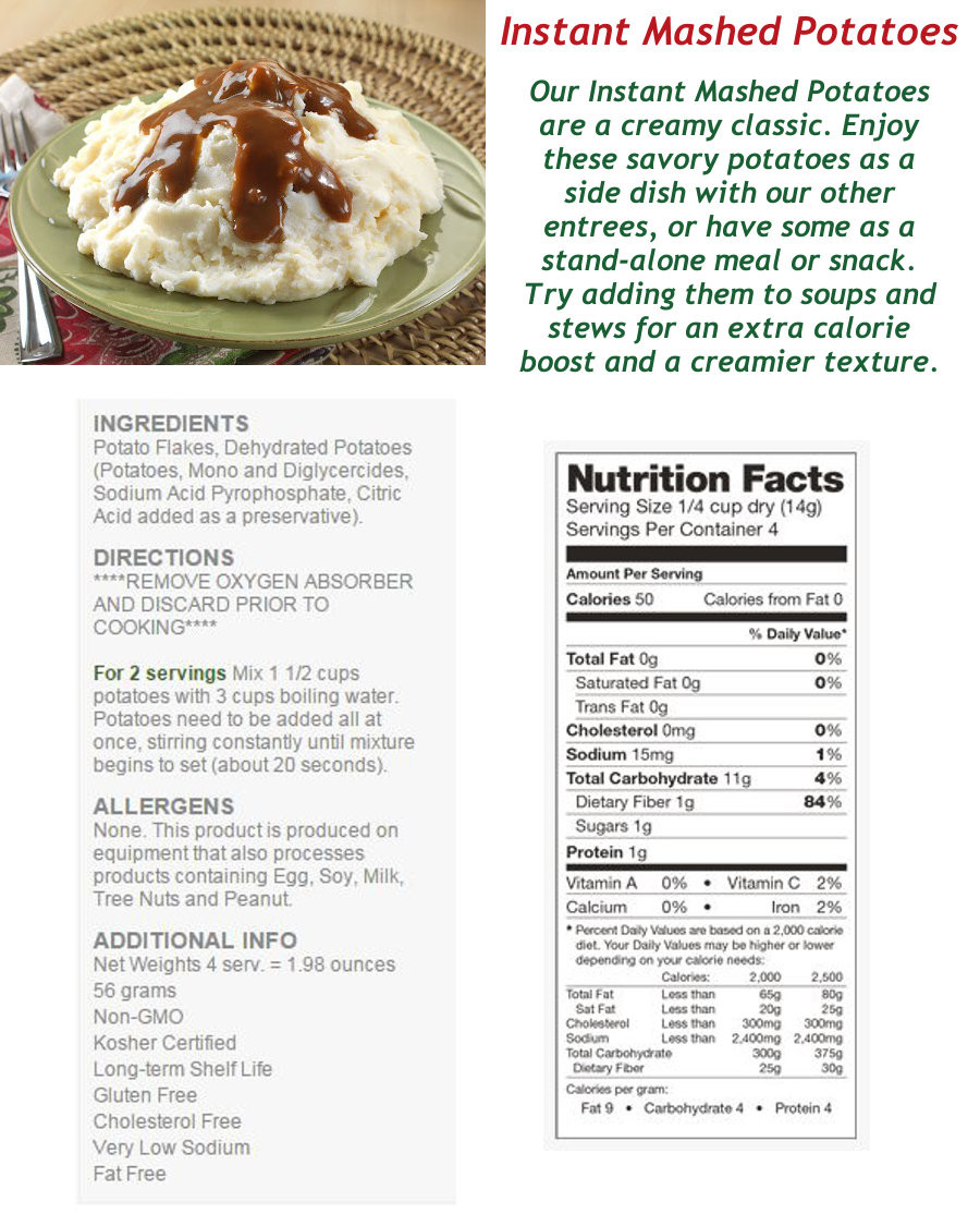 Mashed Potato Calories  Legacy Premium 2 Person 72 Hour 2000 Calorie per Day