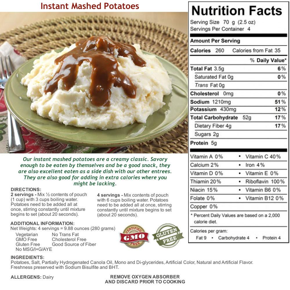 Mashed Potato Calories  instant mashed potatoes nutrition