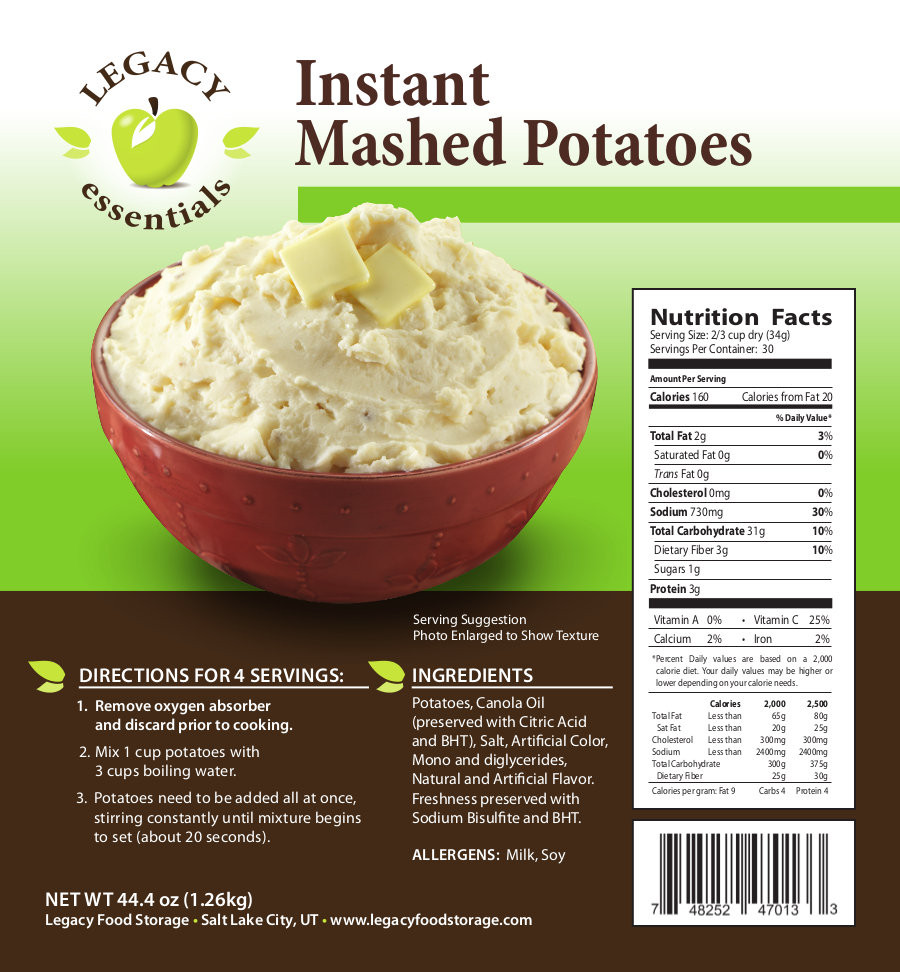 Mashed Potato Calories  Legacy Essentials Instant Mashed Potatoes 30 Servings