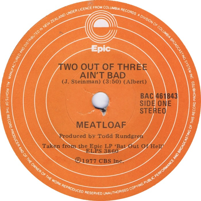 Meatloaf Two Out Of Three Ain'T Bad  45cat Meatloaf Two Out Three Ain t Bad Heaven Can