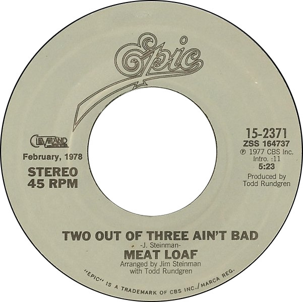 Meatloaf Two Out Of Three Ain'T Bad  45cat Meat Loaf Two Out Three Ain t Bad Paradise