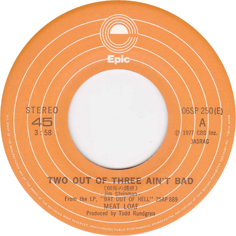 Meatloaf Two Out Of Three Ain'T Bad  45cat Meat Loaf Two Out Three Ain t Bad You Took