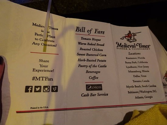 Medieval Times Dinner Menu  Knights Picture of Me val Times Dinner & Tournament