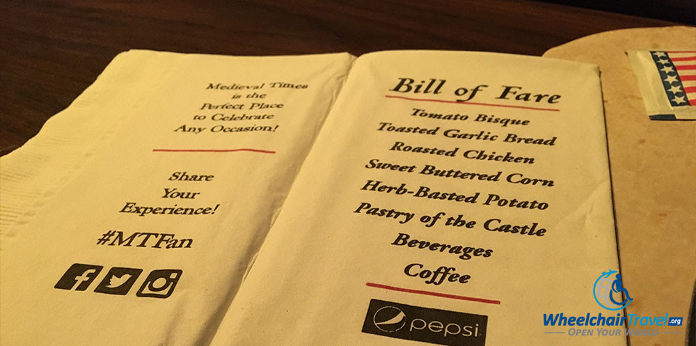 Medieval Times Dinner Menu  A Wheelchair Accessible Knight at the Me val Times Castle