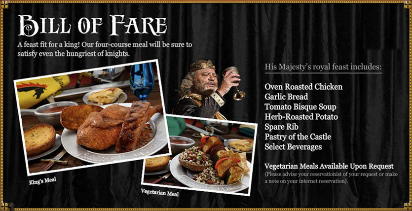 Medieval Times Dinner Menu  Me val Times Restaurant Menu Related Keywords Me val