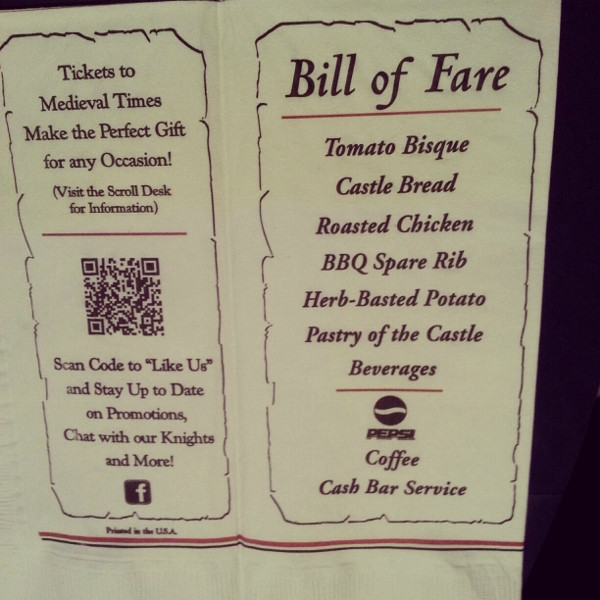 Medieval Times Dinner Menu  Me val Times Dinner Show in Orlando Travel