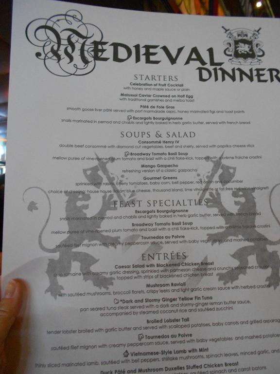 Medieval Times Dinner Menu  Sea Day & Me val Times dinner