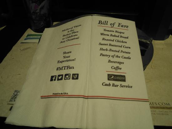 Medieval Times Dinner Menu  Napkin with the Menu Picture of Me val Times Dinner