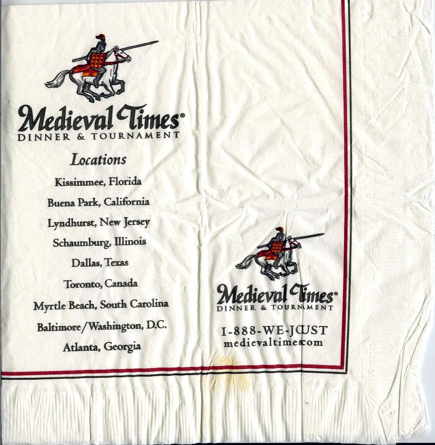 Medieval Times Dinner Menu  Me val Times