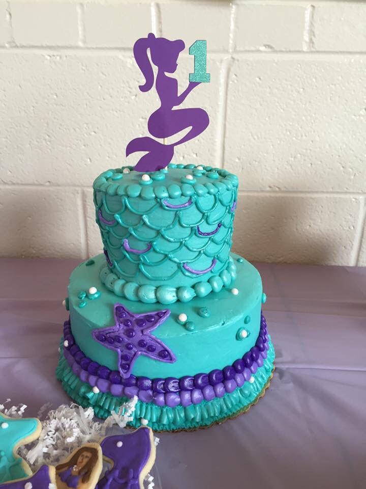Mermaid Birthday Cake  First birthday mermaid theme cake