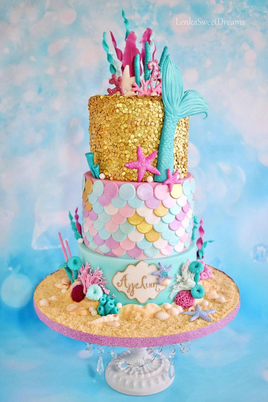 Mermaid Birthday Cake  Mermaid Sequins Cake CakeCentral