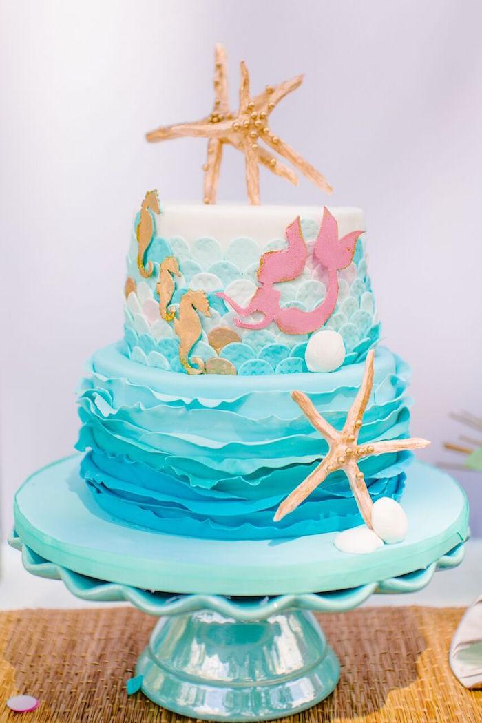 Mermaid Birthday Cake  Kara s Party Ideas Watercolor Mermaid Birthday Party