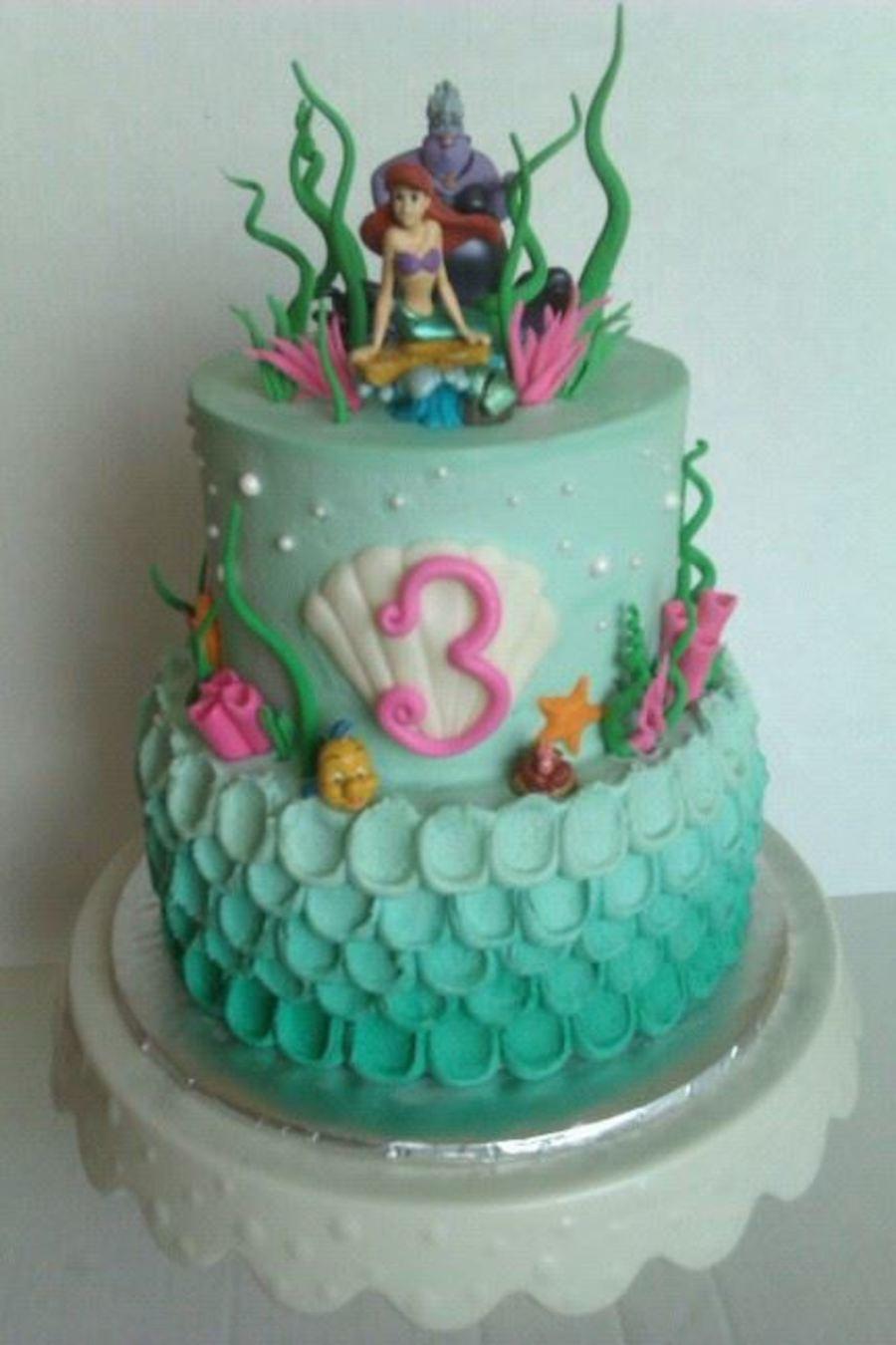 Mermaid Birthday Cake  Lil Mermaid Themed Cake CakeCentral