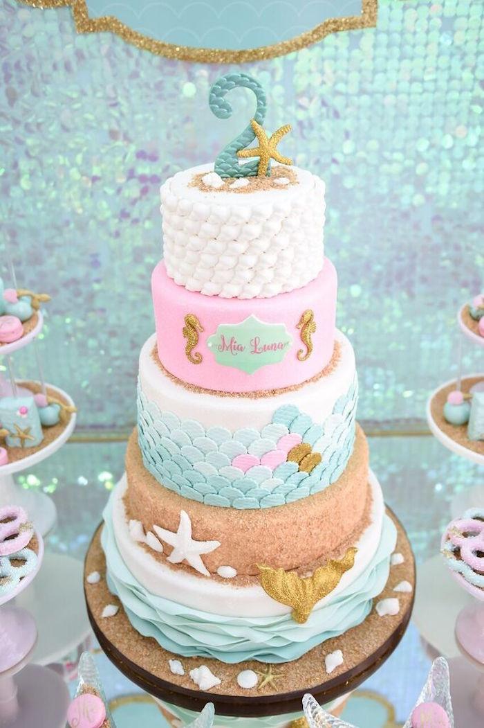 Mermaid Birthday Cake  Kara s Party Ideas Mermaid Oasis Themed Birthday Party