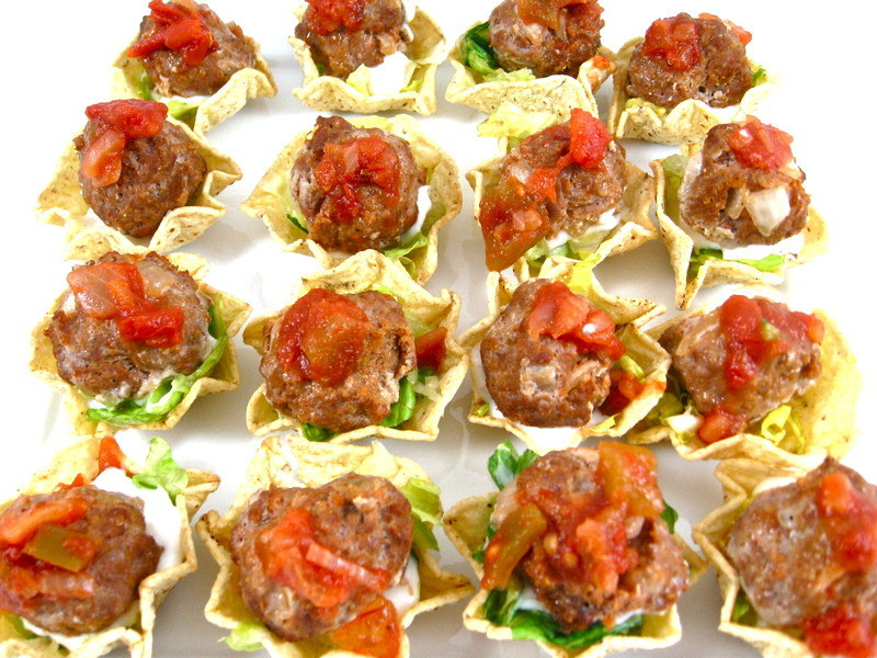 Mexican Food Appetizers  Skinny Mini Mexican Meatball Tostada Appetizers Recipe by