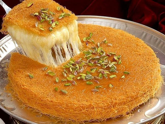 Middle East Dessert Recipe  Knafeh Recipes Middle Eastern Syrup Soaked Crisp Crust