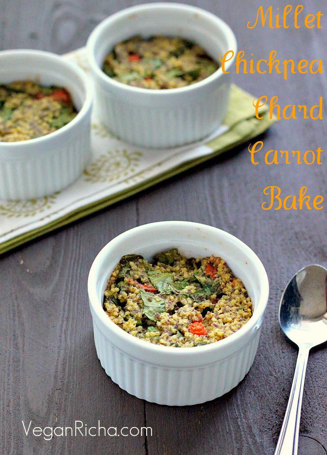 Millet Breakfast Recipe  Millet Chickpea Chard Carrot Breakfast Bake Vegan