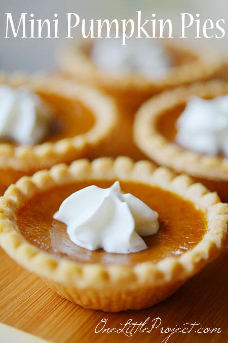 Mini Pie Recipes  mini pumpkin pies