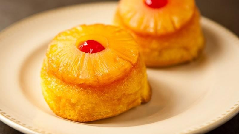 Mini Pineapple Upside Down Cake  Pineapple Upside Down Mini Cakes recipe from Betty Crocker