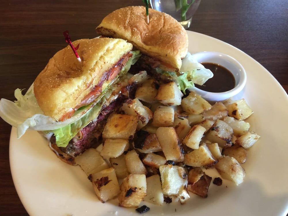 Mrs Potato Restaurant  Stuffed Jerk Burger with Rosemary Potatoes Yelp