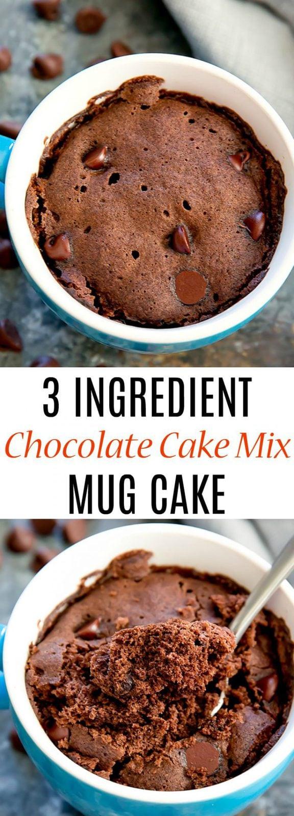 Mug Cake Mix  3 Ingre nt Chocolate Cake Mix Mug Cake Kirbie s Cravings