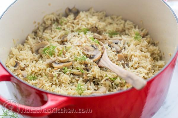 Mushroom Rice Pilaf  Mushroom Rice Pilaf a one pot meal NatashasKitchen